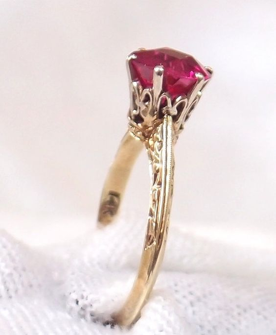 Vintage Edwardian 14K Gold Ruby Ring by hotvintage on Etsy, $325.00