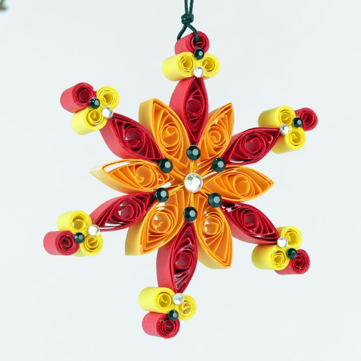 Christmas Red and yellow quilling Quilling snowflake