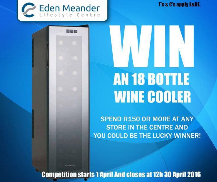 Spend R150 or more at any store at the #EdenMeanderLifestyleCentre and stand a chance to win an 18 bottle wine cooler. Competition starts 1 April and closes at 12h00 on 30 April 2016. T's & C's apply, E&OE