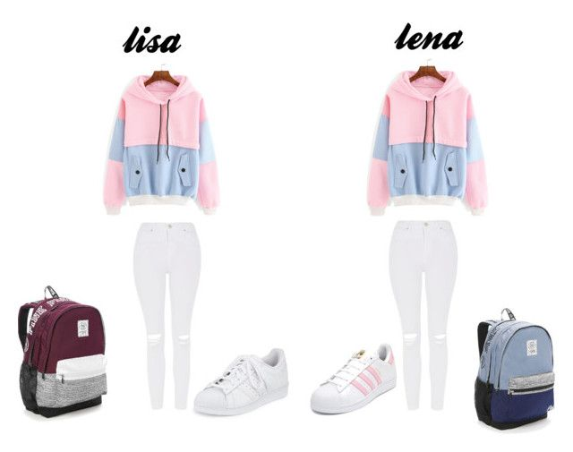 """""""lisa lena pink blue"""" by blah101today on Polyvore featuring Victoria's Secret, Topshop and adidas"""