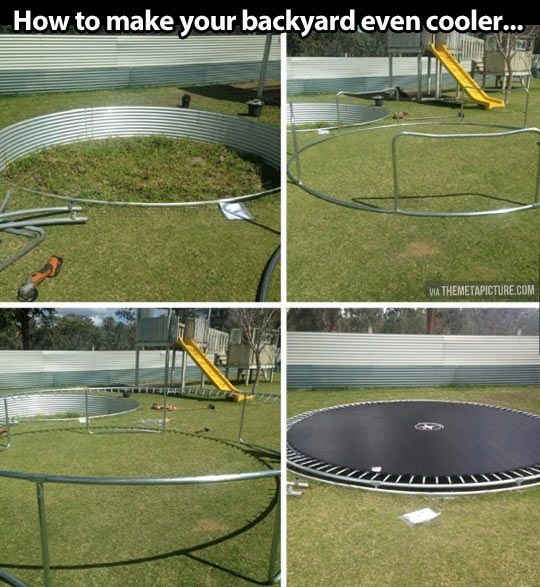 """The coolest backyard… I have always dreamed of an """"in ground"""" trampoline! How fun!"""