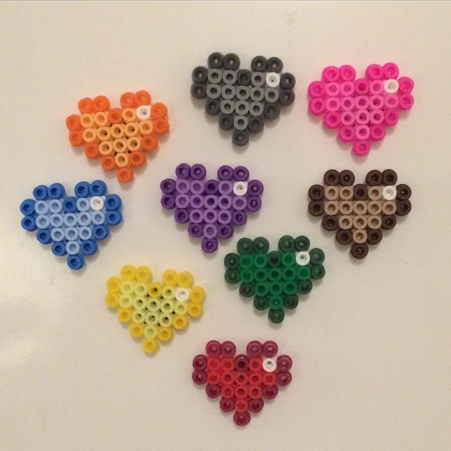 Colorful heart magnets perler beads by kutyonline