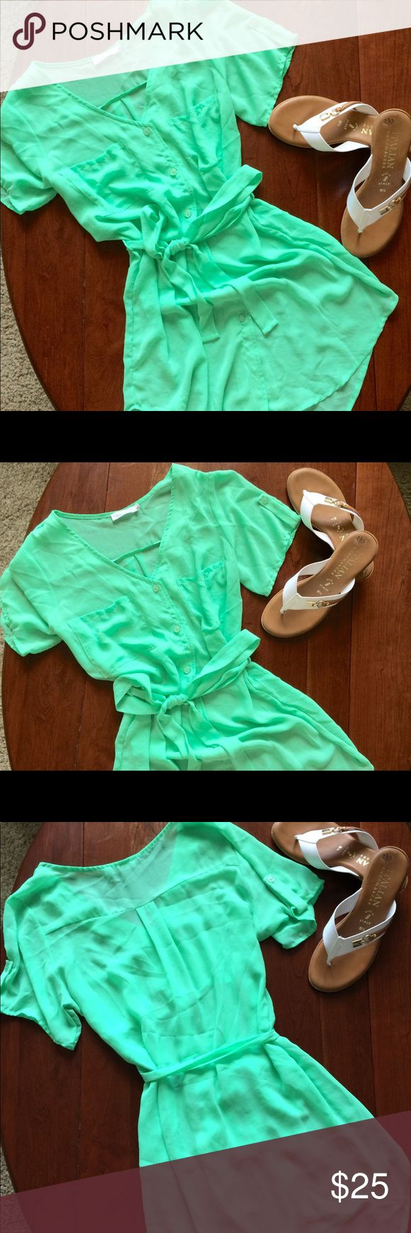 Lush Roll Tab Sleeve Shirt Dress in Neon Green Rare Lush tab sleeve shirt dress in neon green. This shirt dress by Lush is nearly impossible to find. It features a great v bodice with front pockets and tab sleeves. It is in an eye catching neon green color that compliments your skin tone and catches everyone's gaze. You win't want to pass up this cute shirt dress which is perfect in the Fall with boots or in the Summer with flip flops. It is in great condition with care to be taken when…