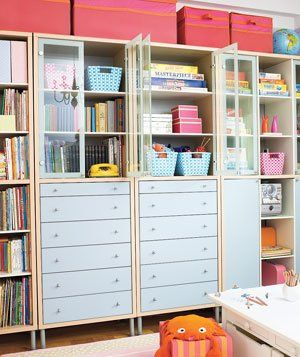 16 Before-and-After Room Makeovers|Learn how Real Simple transformed readers' kitchens, bathrooms, and more.: Playrooms Storage, Crafts Rooms, Storage Cabinets, Closet Organizations, Drawers, Inexpen Baskets, Rooms Makeovers, Shelves United, Art Rooms