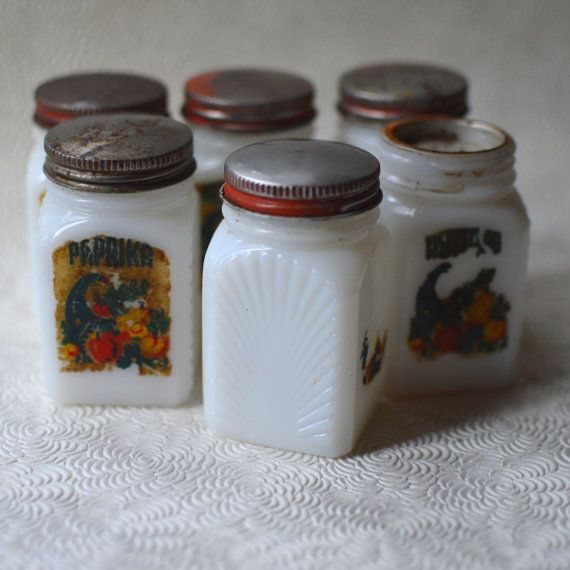 milk glass spice jars vintage red metal lids decals art deco set of six wwii 1940s - Glass Spice Jars