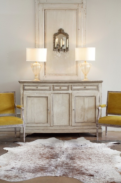 French Early 19th Century Painted Buffet, Louis XVI armchairs, cowhide, vintage Murano lamps