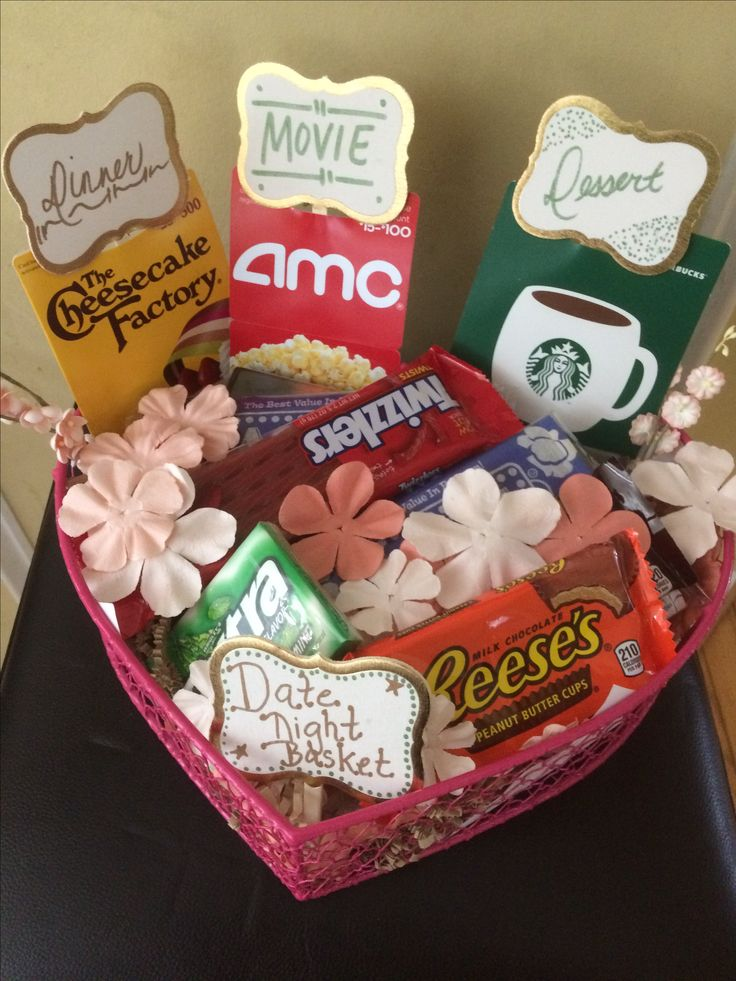Date night basket on Pinterest Anniversary gifts for couples, Gift ...