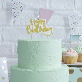 Our Happy Birthday candle is perfect for birthday celebration cakes.