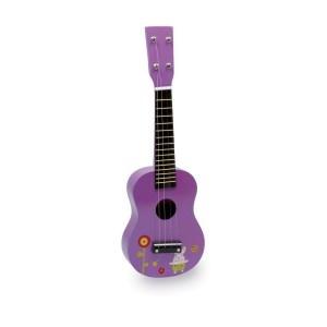 Multi-gekleurde versie van een goed verkopende gitaar laat de harten van kleine rock harten sneller slaan. 4 metalen snaren bevorderen de interesse voor het instrument en de muziek.