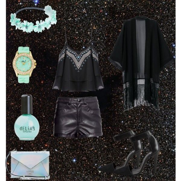 black&turquoise party style by andreeamoldo on Polyvore featuring Pieces, GUESS and Wet Seal