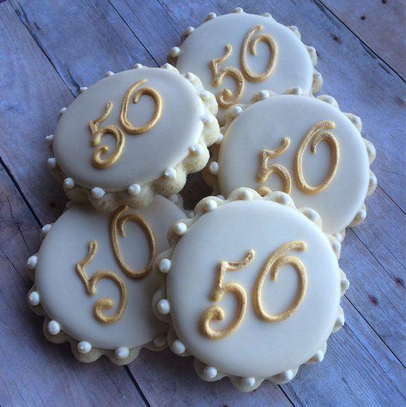 50th Anniversary Monogram Sugar Cookies 1Dozen by LaPetiteCookie