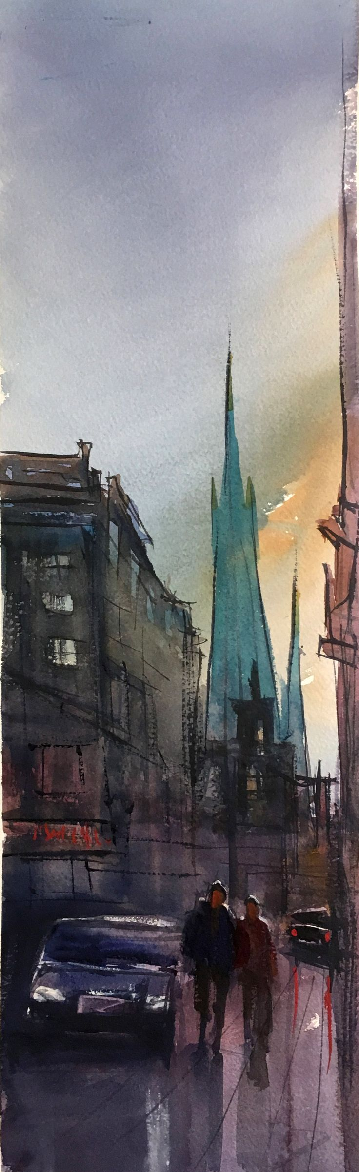 Klara Norra Kyrkogatan. Akvarell av Stefan Gadnell