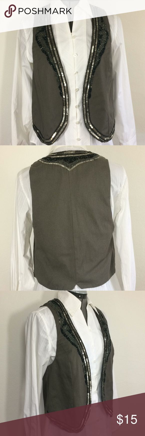 """NWT MNG olive canvas lined vest with sequin/bead-M Beading and sequins along collar and hem add a bump of sparkle to this super trendy NWT vest by MNG. Olive exterior lined with black pin stripe. No closure front. Sz M. Shoulder to hem 21"""" Armpit to armpit 17"""" Versatile piece-slack/skirt/jeans, formal shirt to casual tee. Super cute!💕 MNG Jackets & Coats Vests"""