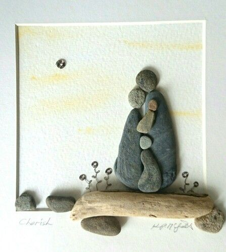 Pebble Art: Pebbles, driftwood copper wire...