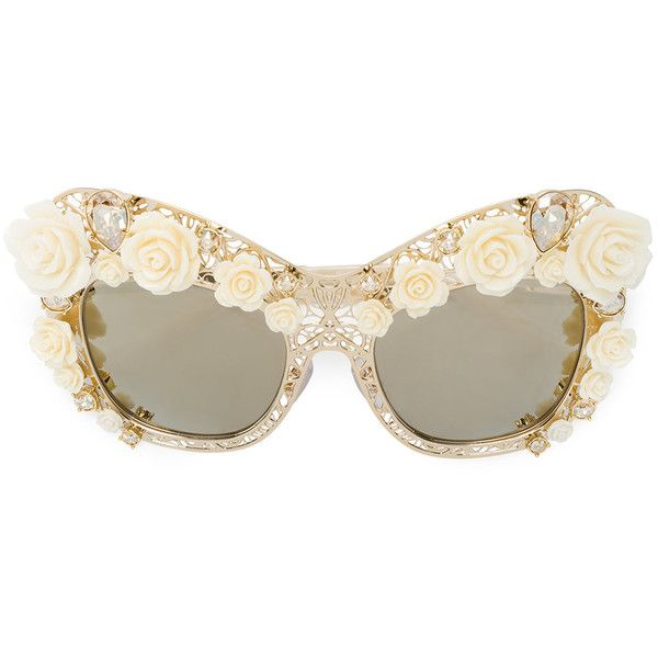 Dolce & Gabbana Eyewear rose lace cat-eye sunglasses (£1,740) ❤ liked on Polyvore featuring accessories, eyewear, sunglasses, grey, dolce gabbana sunglasses, gray sunglasses, cat eye sunglasses, sports glasses and rose glasses
