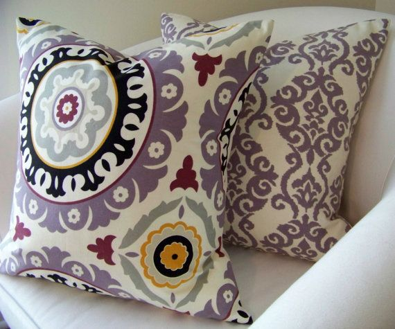 Purple Suzani Pillow Cover 18 x 18  Inch Decorative Pillow Cushion Throw Accent. $25.00, via Etsy.