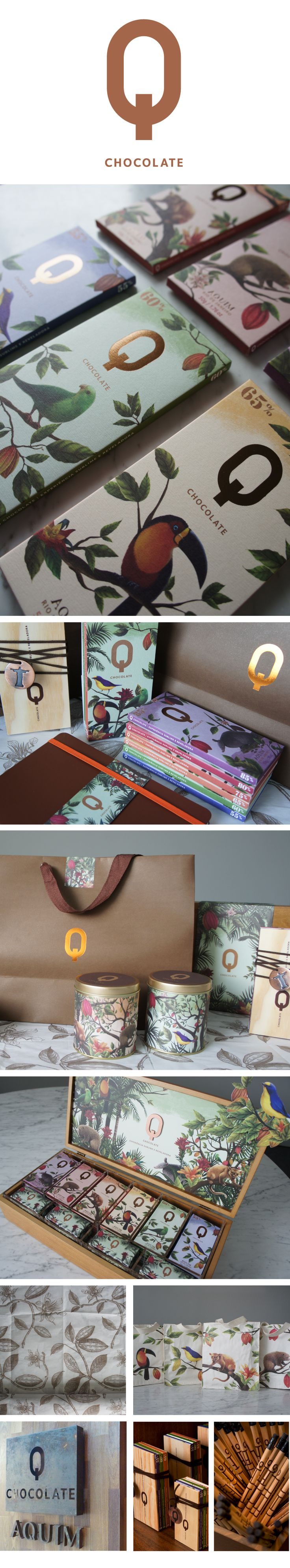 identity / aquim, q chocolate. design credit, claudio novaes. cannes design 2013 winner.