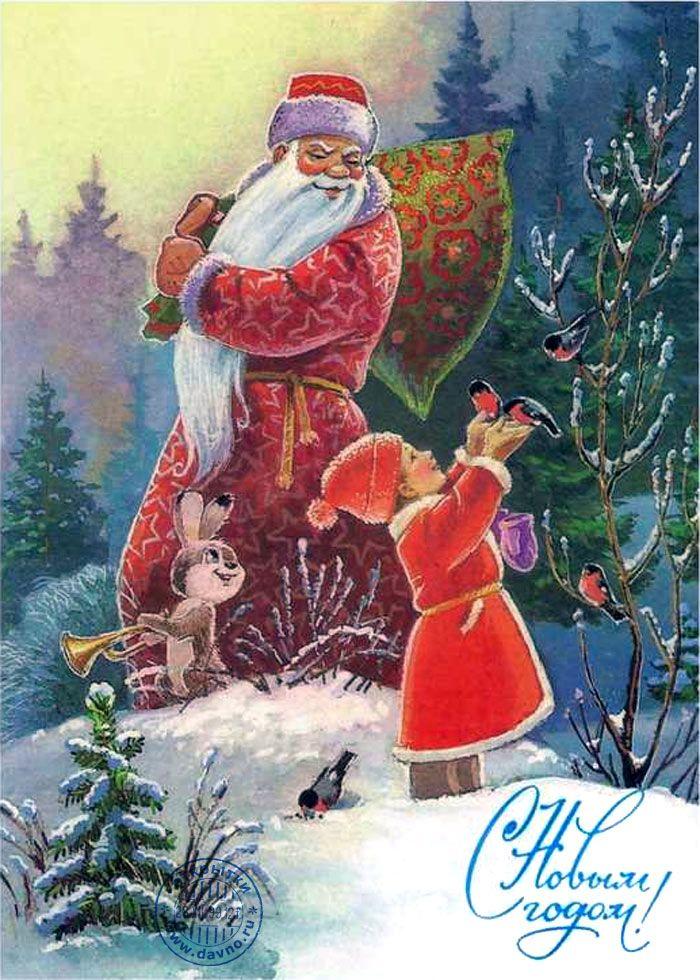 Дед Мороз с мешком подарков, мальчик новый год кормит снегирей