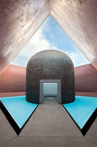 James Turrell 'Within without' 2010 Skyspace: lighting installation, concrete and basalt stupa, water, earth, landscaping National Gallery of Australia, Canberra