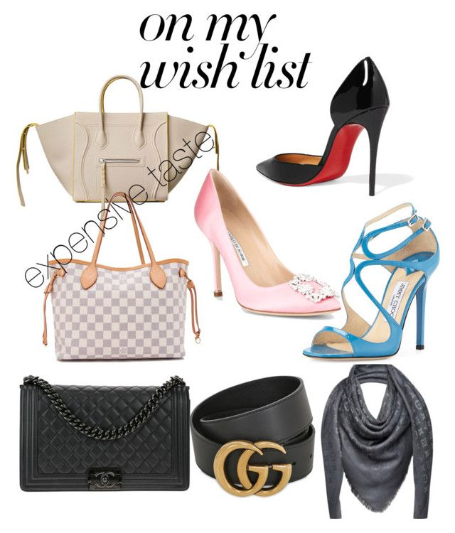 """#PolyPresents: Wish List"" by renataoczak on Polyvore featuring CÉLINE, Louis Vuitton, Chanel, Christian Louboutin, Jimmy Choo, Manolo Blahnik, Gucci, contestentry and polyPresents"