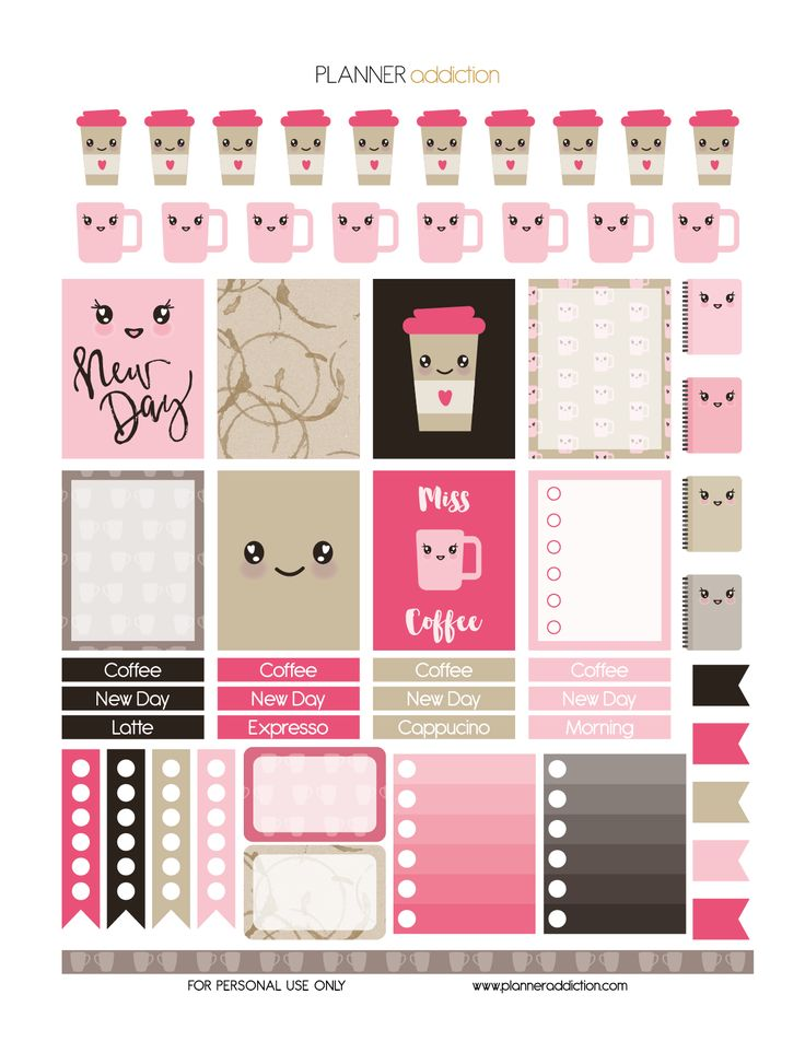 Coffee… My best friend in the morning! Why not include it in our planner. This is a free sheet of printable planner stickers on the theme of Kawaii Coffee. Enjoy  Description: The sheet of this printa