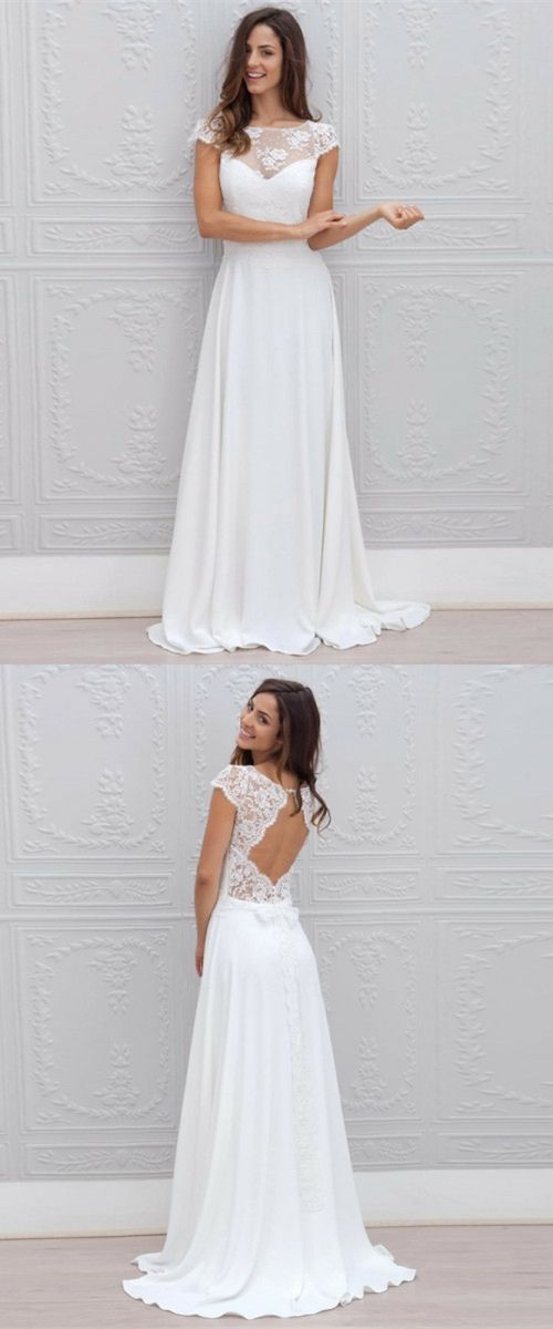 elegant cap sleeves wedding dresses, open back dream wedding dresses with lace, beauty big day dress with appliques