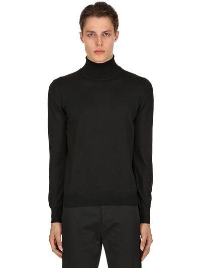 b22ec645327080 STONE ISLAND, Wool knit turtleneck sweater, Black, Luisaviaroma ...