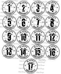17 SPECIAL AGE birthday digi stamp set  Circle sentiment stamps  heart font  1st birthday   17th birthday  Teenager  Toddler  Kids  on Craftsuprint - View Now!