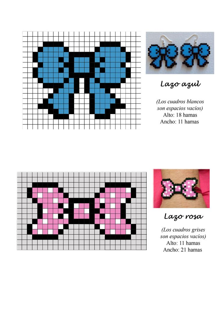 Bow and ribbon hama perler beads pattern