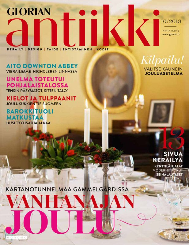 Magazine cover 10/2013. Christmas table in Gammelgård mansion, Finland. Photo Katja Hagelstam.