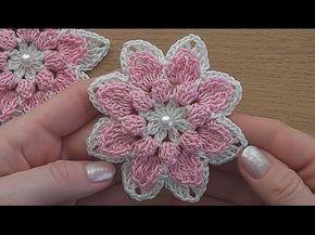 Crochet flower tutorial VERY EASY   ВЯЖЕМ КРЮЧКОМ   Postila