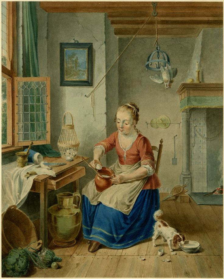 . Description  Maid seated by window; holding a vessel into which she cracks an egg, a chicken hanging up-side down from a metal frame attached to a pulley-system on the beamed ceiling, a dog lapping milk near her feet. 1798 Watercolour Producer name      Drawn by: R Meurs Pruyssenaar biography  School/style      Dutch term details  Date      1798