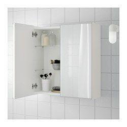 IKEA - LILLÅNGEN, Spiegelschrank 2 Türen, schwarzbraun, , Spiegel mit Sicherheitsfolie auf der Rückseite, die das Gefahrenrisiko durch splitterndes Glas mindert.