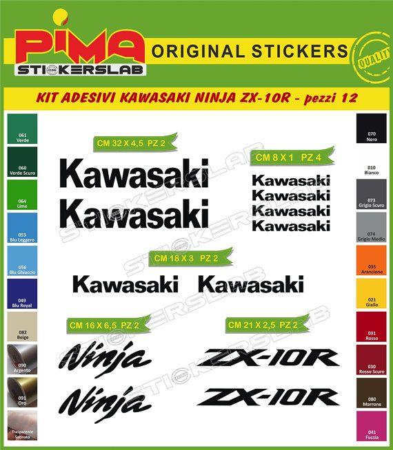 Adesivi Stickers kit KAWASAKI NINJA zx-10r moto di PIMAstickerslab