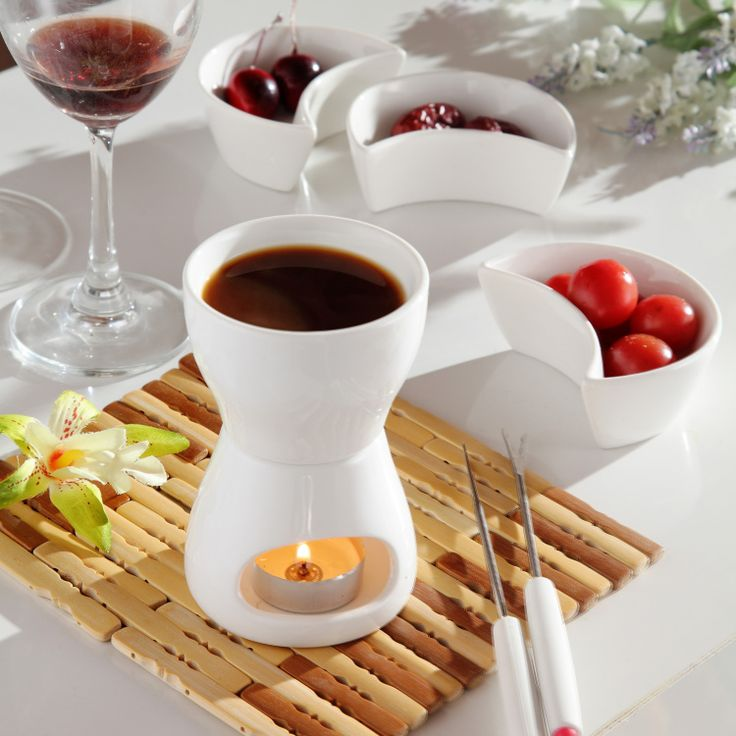 Free shipping 120 ml Ceramic chocolate fondue ice cream pot set cheese hot pot fondue sets with fork and candle