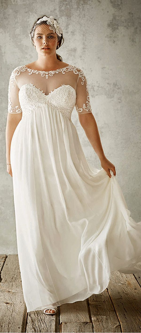 Flowing Tulle Satin Sweetheart Neckline A Line Plus Size Wedding Dresses With Lace Appliques I Want This But The Little Designs At Top Being
