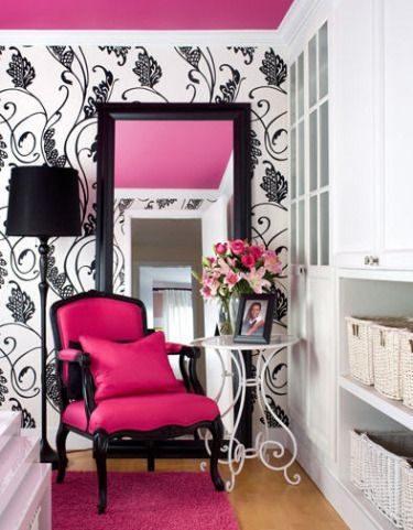 PURTYY! Pink and Damask #chair: Decor, Ideas, Pink Ceiling, Color, Black White, Pink Chairs, Hot Pink, Bedroom, Pink Black