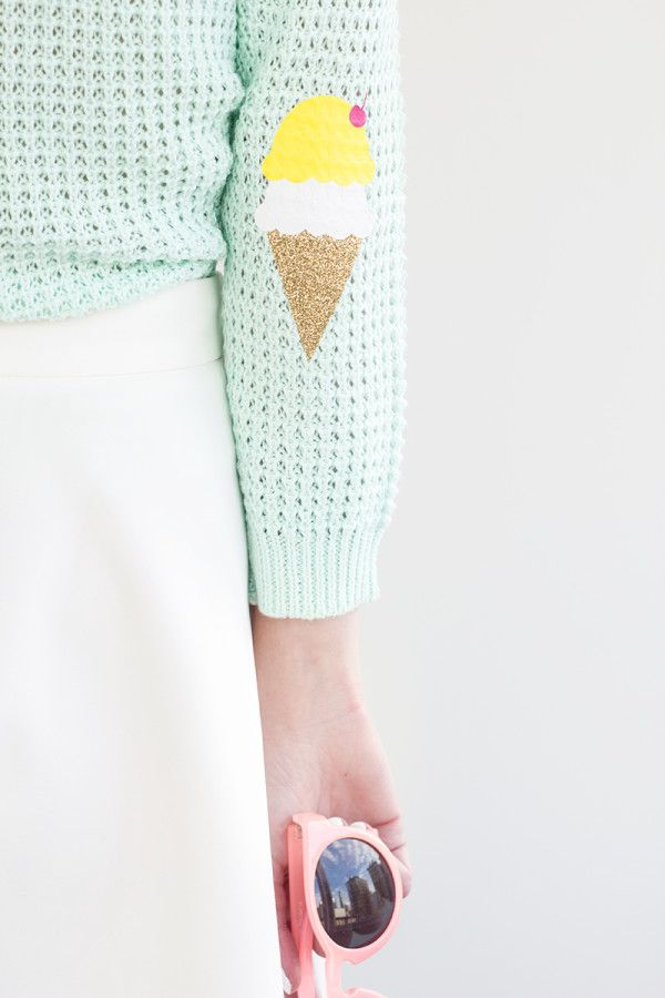 DIY Ice Cream Cone Elbow Patches from Studio DIY! So cute to wear to an Ice Cream Party!
