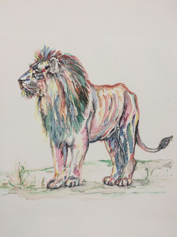 Memory, 2015.  Unique watercolour screen print by Christine Morton. In memory of Cecil who died to be a trophy at the hand of a greedy and ignorant man. SOLD.