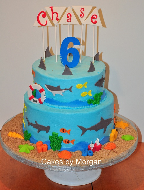 Shark Theme Cake by Morgans Cakes, via Flickr