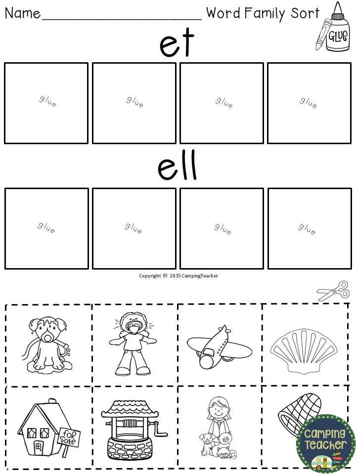 Word Family Worksheets : Word family set for et ell and eck my tpt products