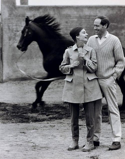 Audrey Hepburn photographed with her husband Mel Ferrer by Pierluigi Praturlon on their Villa near Rome (Italy) 1960.  Audrey was wearing Hermès coat