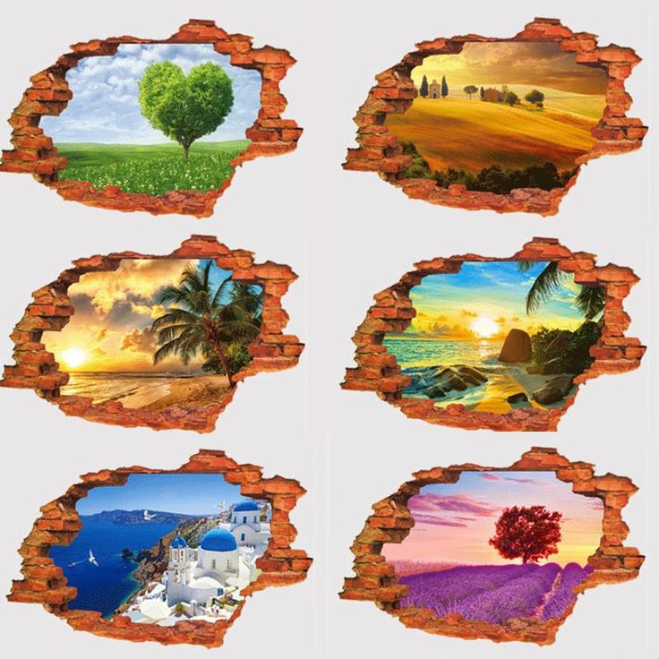 3D Broken Wall Sunset Scenery Seascape Island Coconut Trees Household Adornment Can The Wall Stickers Decals Poster
