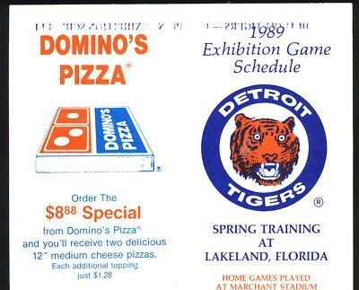 1989 Detroit Tigers Spring Training Baseball Schedule . $6.00. 1989 Detroit TigersBaseball Schedule,Spring TrainingGREAT AUTHENTIC BASEBALL COLLECTIBLE!! .ITEM PICTURED IS ACTUAL ITEM BUYER WILL RECEIVE.