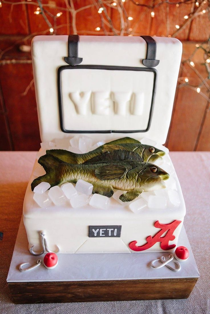 How clever is this Yeti Cooler groom's cake?