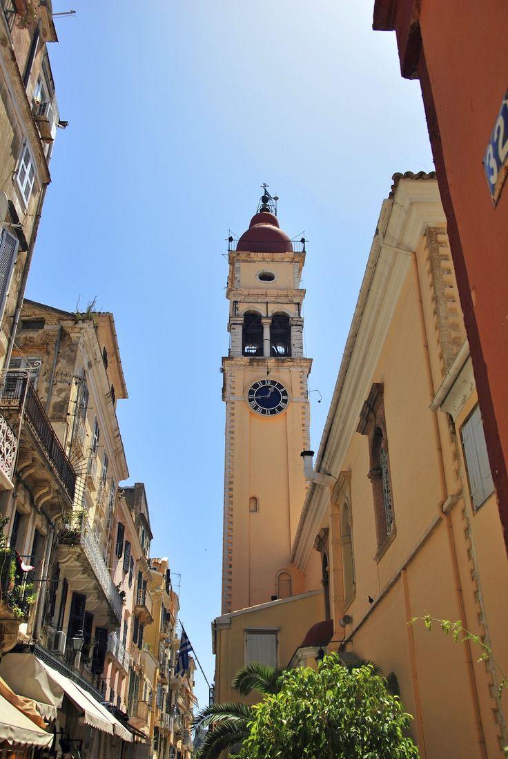 Street view of Agios Spyridon church in Corfu
