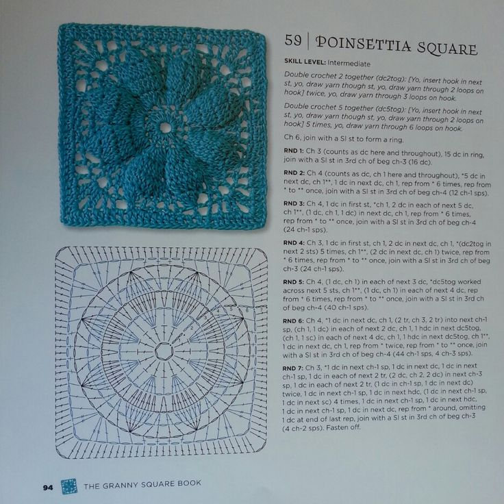 Poinsettia Square - from The Granny Square Book by Margaret Hubert #crochetmoodblanket2014 granny square crochet pattern