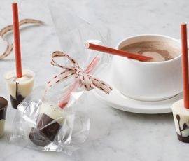 Hot Chocolate Stirrers: Dip these chocolate stirrers into hot milk for an indulgent, melty treat. http://www.bakers-corner.com.au/recipes/desserts/chocolate/hot-chocolate-stirrers/