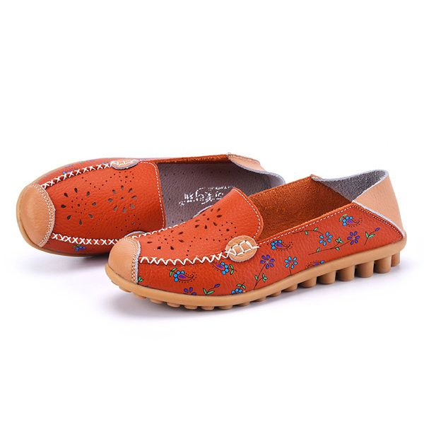 d9e2b717cbb7 Floral Print Hollow Out Breathable Color Match Casual Slip On Flat Shoes