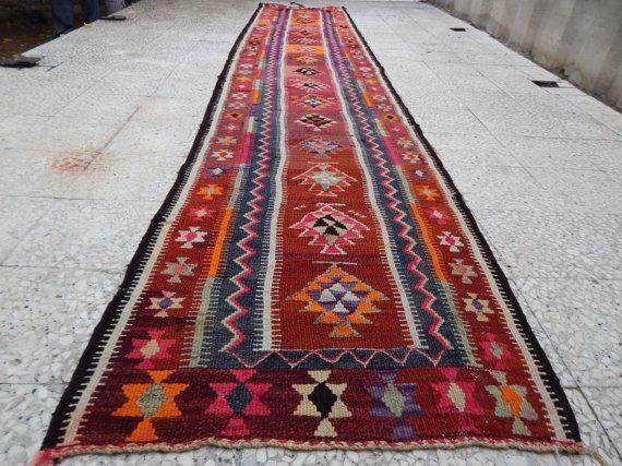 3.1x15.1 FT Vintage Handwoven Kurdish Antique Kilim Kelim Floor Rugs Hall Runners,Extra Long Hallway Runners,Colorful Large Kilim Rug Runner